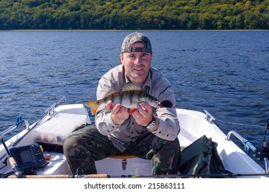 Perch fishing from boat