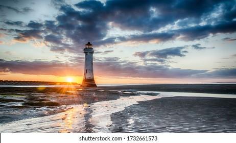 Perch Rock Lighthouse Sunset - New Brighton Wirral Merseyside UK