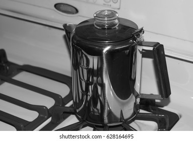 Percolator Coffee Pot On Stovetop Black and White