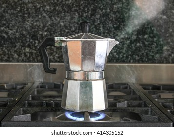 Percolator steaming in the morning.