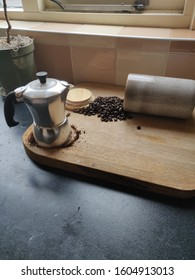 perculator coffee grinding beans on a Sunday