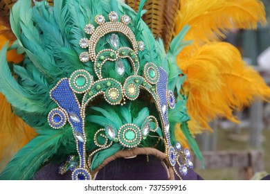 percussion instruments feathers and carnival embroidery