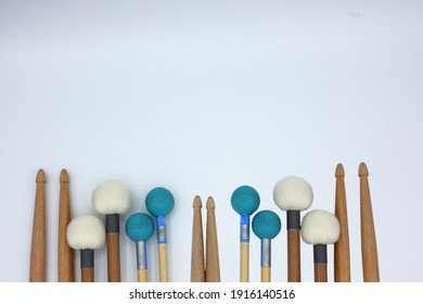 Percussion mallets set on a white background.