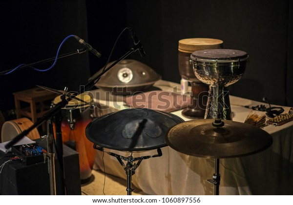 Percussion musical instruments. Tombak, Hang, RAVVast, RAV Vast drum, drums, musical plates and others