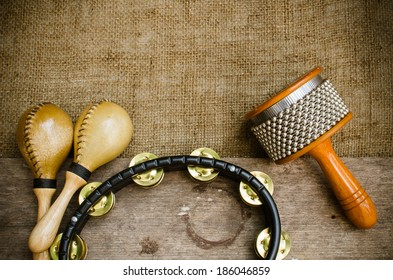 Percussion on sackcloth and old wood stock photo