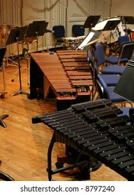 The percussion section at a symphonic concert