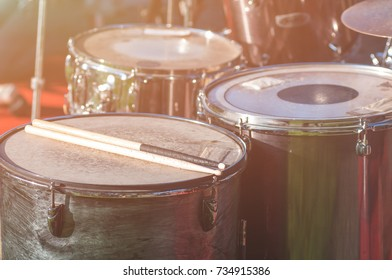 percussion in the street before the concert, closeup, apply a filter
