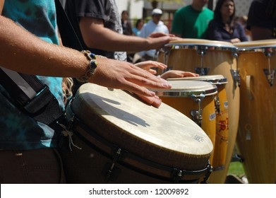 "Percussionists playing drums; ""Earth Day"" celebration; Balboa Park; San Diego, California"