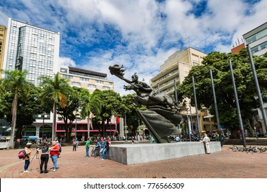 PEREIRA, COLOMBIA - NOVEMBRE 15, 2017: Central Square of Pereira, capital of the coffee region in Colombia. Pereira, Colombia