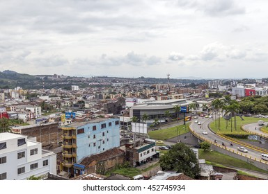 PEREIRA, COLOMBIA - OCTOBER 25, 2015: Areal view of Pereira at rainy day. The city is located in the foothills of the Andes in a coffee-producing area of Colombia officially known as the Coffee Axis.