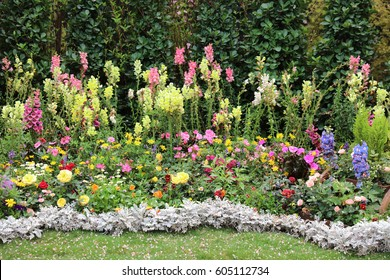 Perennial  garden flower bed in spring at flower show