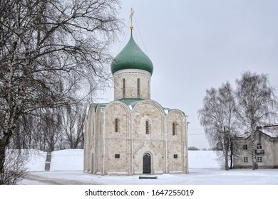 PERESLAVL-ZALESSKY, RUSSIA - Angle view from a side of Red Square, the historical center of Pereslavl-Zalessky, on the Cathedral of the Transfiguration of the Christ framed by birch trees in winter.