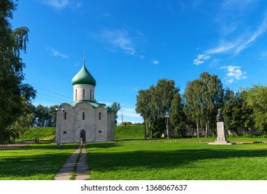 Pereslavl-Zalessky, Russia - August 5, 2018 : Spaso-Preobrazhensky Cathedral, Pereslavl-Zalessky, Russia. Savior's Cathedral. Monument to Alexander Nevsky. Golden Ring of Russia.