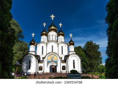 Pereslavl-Zalessky, Russia - August 5, 2018 : Cathedral of St. Nicholas in The Nikolsky Women' s Monastery in Pereslavl Zalessky in the Yaroslavl Region in Russia. Golden Ring of Russia .