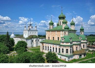 PERESLAVL-ZALESSKY, RUSSIA - Beautiful view from bell tower on architectural Ensemble of Goritsky Monastery, Dormition (Assumption) Cathedral and Church of  All Saints in summer.