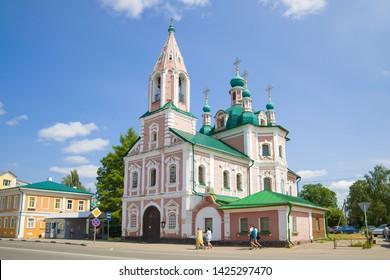 PERESLAVL-ZALESSKY, RUSSIA - JULY 15, 2016: View of the Simeonovskaya church on a sunny July day. Golden Ring of Russia,