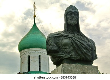 Pereslavl-Zalessky, Russia - July 18, 2017: Monument to Prince Alexander Nevsky (1220-1263) in Pereslavl-Zalessky. Pereslavl-Zalessky - the birthplace of Alexander Nevsky. Golden Ring of Russia