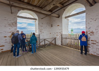 Pereslavl-Zalessky, Russia - May 3, 2019: Goritsky Assumption Monastery, People watch the panorama of the city from The bell-tower of Bogoyavlensky Church in the Golden Ring Pereslavl Zalessky
