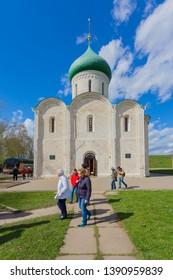 Pereslavl-Zalessky, Russia - May 3, 2019:Spaso Preobrazhensky Cathedral in Pereslavl Zalessky in the city of the Golden ring Pereslavl Zalessky