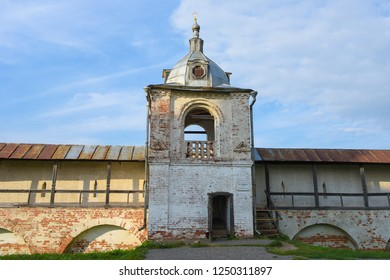 Pereslavl-Zalessky, Russia, September 2, 2018: Belfry of the assumption Goritsky monastery in Pereslavl-Zalessky.