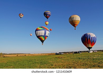 Pereslavl-Zalessky, Russia - September 23, 2017: Hot air balloons in flight at the festival of aeronautics in Pereslavl-Zalessky