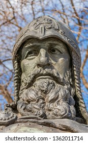 PERESLAVL-ZALESSKY, YAROSLAVL REGION, RUSSIA - March 27, 2019: Local History Museum in the Goritsky Monastery. Monument to Yuri Dolgoruky