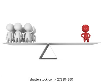 Perfect balance between red businessman leader and team.  3d render isolated on white.