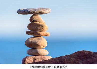 Perfect balance of pebbles on the seashore