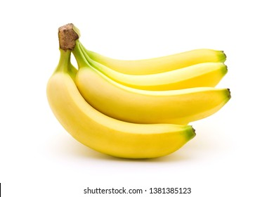 Perfect bananas with yellow and green color isolated on white background. Sports food and nutrition, healthcare and organic fair trade concept.