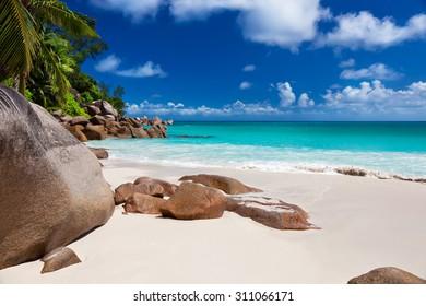 Perfect beach Anse Georgette at Praslin island, Seychelles
