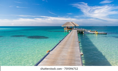 Perfect beach banner, tropical blue sea and blue sky under sunlight