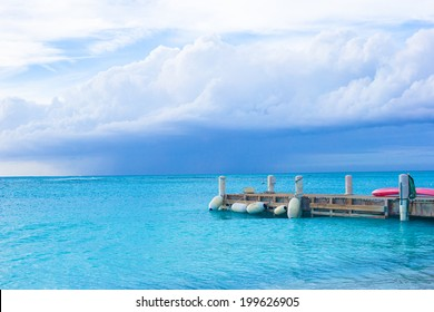 Perfect beach pier at caribbean island in Turks and Caicos