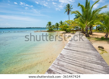 Perfect beach with wooden path and palm trees on Bocas del Toro in Panama