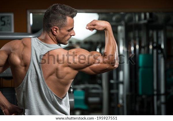 Perfect Biceps - Portrait Of A Physically Fit Young Man - Flexing Muscles