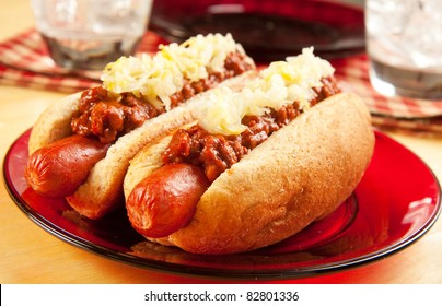 Perfect for the big game,  picnic, party or anytime, chili dogs with sauerkraut.