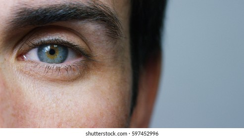 perfect blue eye macro in a sterile environment and perfect vision in resolution 6k,  concept, the vision of the future and healthy life concept. view precise and straight to the target. - Shutterstock ID 597452996