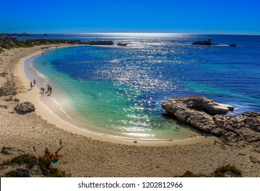 Perfect blue, green and turquoise waters along the coast of Pinky Beach in Rottnest Island.  Taken in Perth, Australia