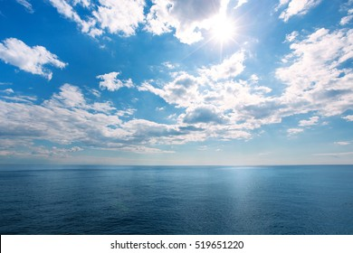 perfect blue sky with clouds and water of the sea