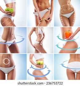 Perfect body with arrows on it. Dieting, sport, fitness and healthy eating collage.