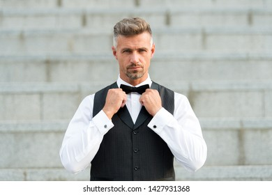 Perfect bow tie. Gentleman modern style. Guy well groomed handsome bearded gentleman macho wear shirt and vest. Barber shop for groom. Confidence in his glance. Restaurant waiter. Elegant gentleman.