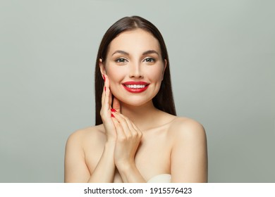 Perfect brunette woman with clear skin on white. Skincare and facial treatment concept