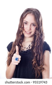 Perfect business woman showing OK hand sign smiling happy