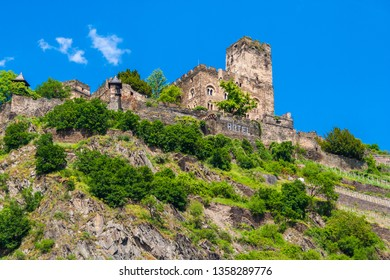 Perfect close view of Gutenfels Castle or Caub Castle with a blue sky background. The spur castle above the town Kaub in Rhineland-Palatinate is part of the Rhine Gorge, a UNESCO World Heritage Site.