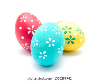 Perfect colorful handmade easter egg isolated on a white