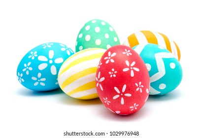 Perfect colorful handmade easter eggs isolated on a white background