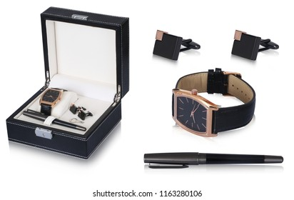 Perfect combo of men accessories of black and copper metal materiel cufflinks, black ballpoint pen and black straps wrist watch with golden outer dial, make this box elegant.