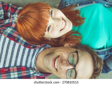 perfect couple. young couple fine portrait from above. concept about expression, happiness, love, couples and people