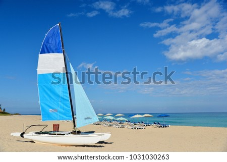 Perfect Cuban Beach And Boat Idyllic Tropical Landscape For Background Or Wallpaper Cuba