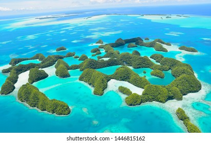 Perfect day for a fly over the 70 Islands in the last paradise of Palau. An untouched area for centuries, submerge in all shades of blue, corals and white sandy beaches.