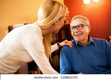 Perfect day for visit grandparents, smiling happy family together having great time